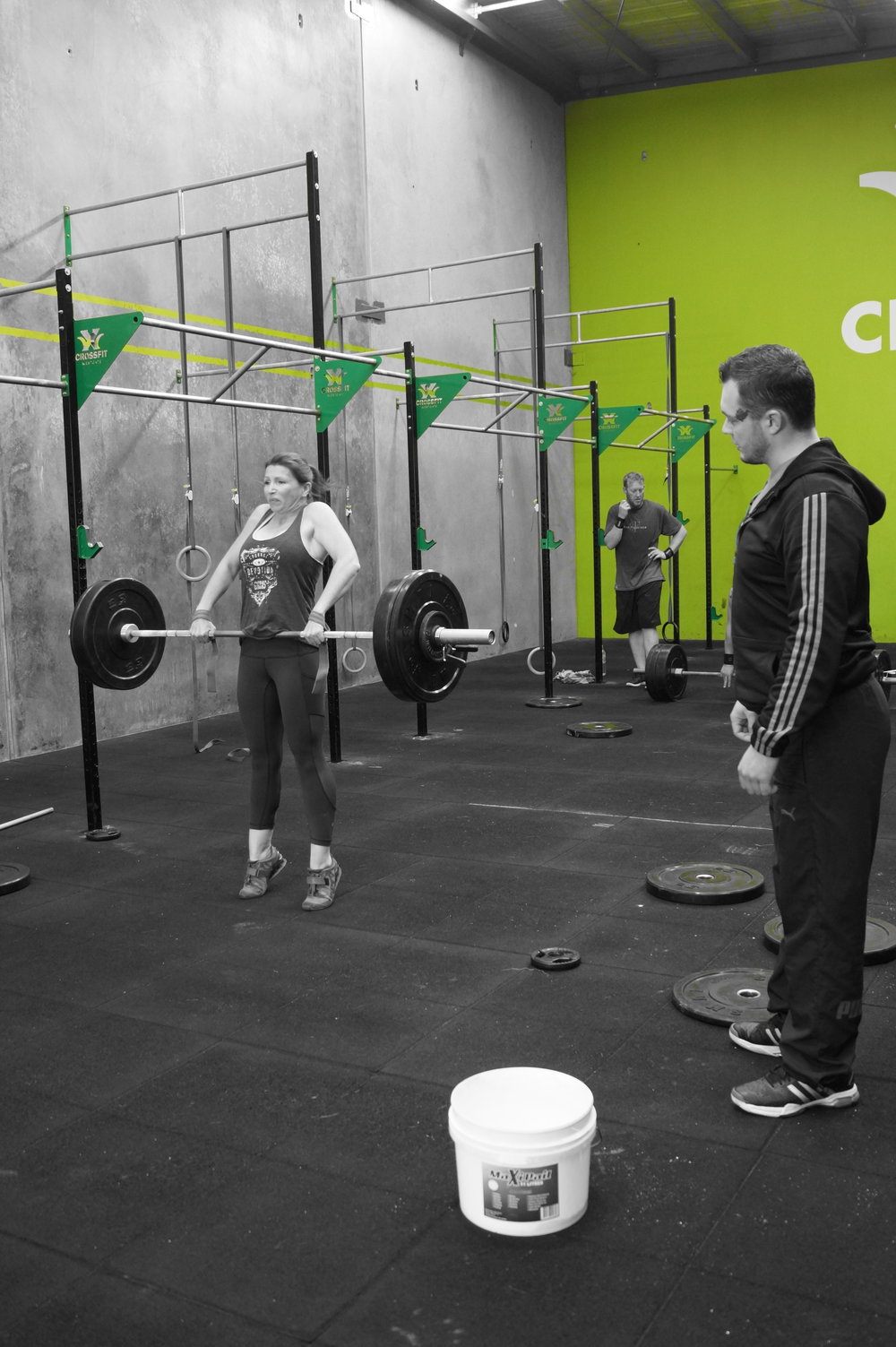 Pictured: Chelsea (CrossFit Westgate member) and Yevgeniy (Weightlifting Coach)