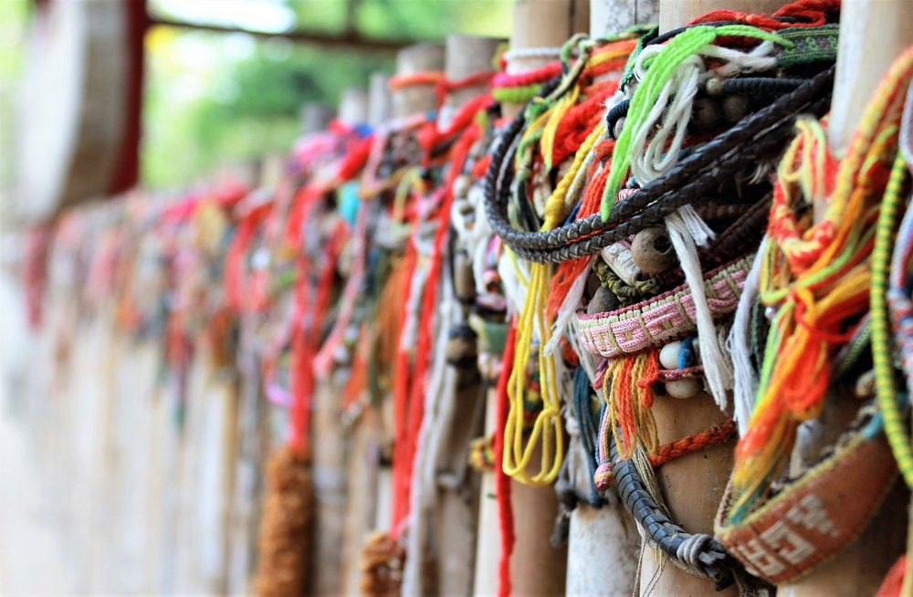 Bracelets dedicated to those who lost their lives at the Killing Fields in Cambodia