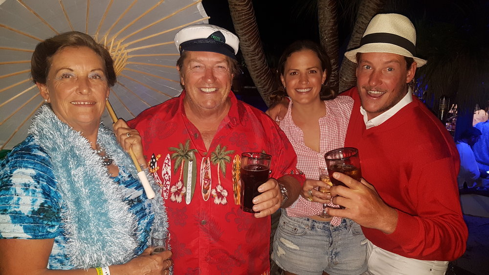 Greg, Jennie, Jason & Brooke of s.v Leilani B - at the Gilligan`s Island themed end of passage party