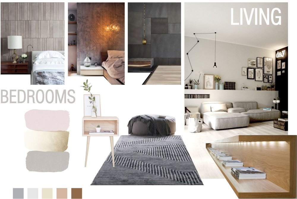 Kids' Bedroom and Living Room moodboard