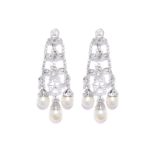 Natural pearl diamond chandelier earring designer jewellery for women natural pearl diamond chandelier earring mozeypictures Image collections