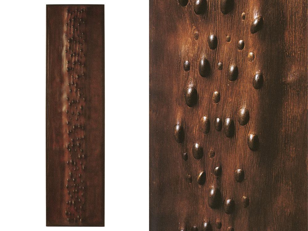 H 45 cm - L 175 cm — Cadre en chêne, galets, ciment teinté ciré.