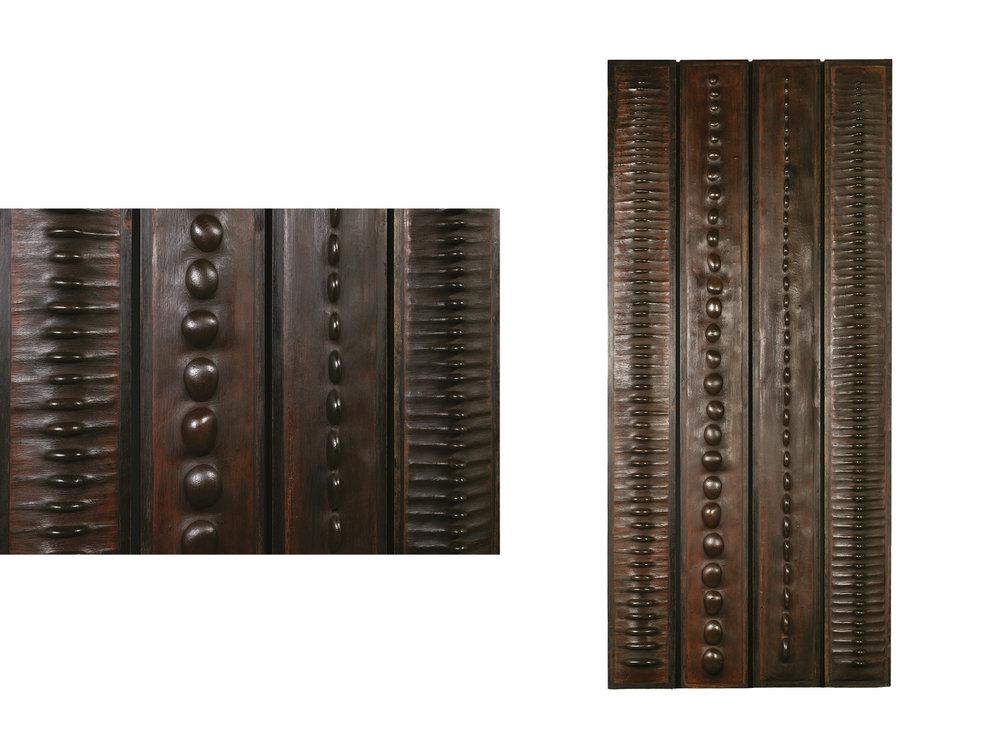 4 panneaux — H 180 cm - L 20 cm — Cadre en chêne, galets, ciment teinté ciré.
