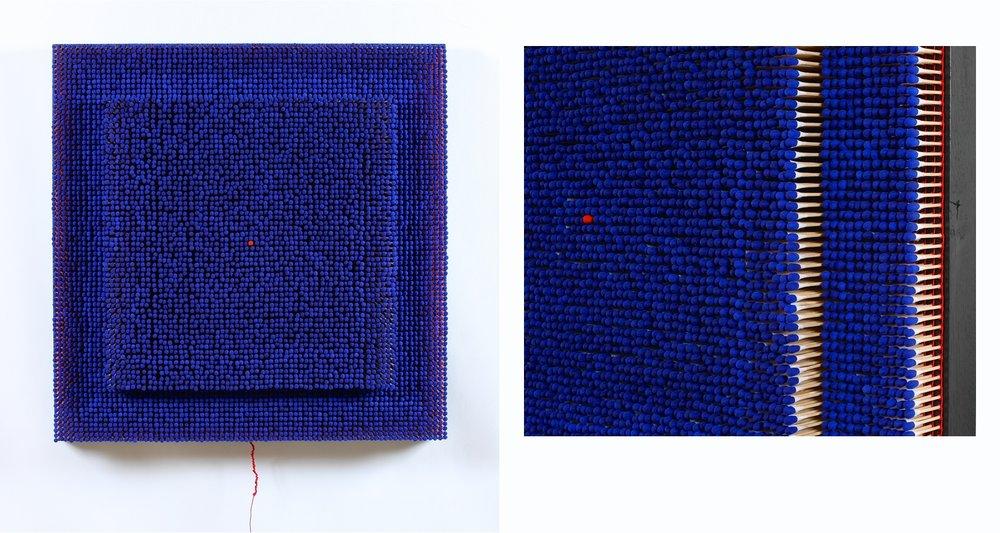 Fil Rouge dans un Labyrinthe Bleu  Coton tiges 82 x 82 cm