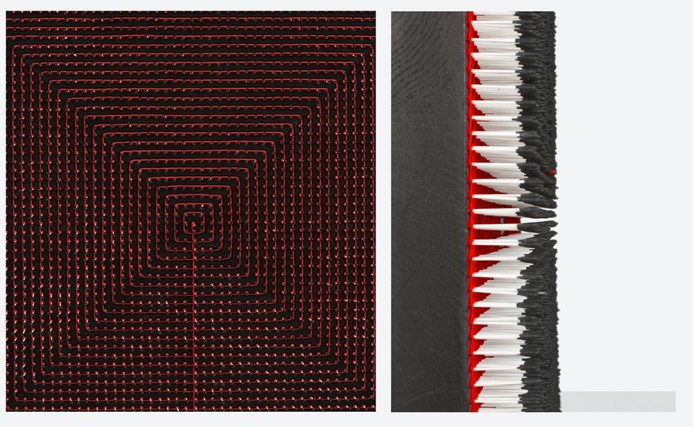 Pensées sombres  Coton tiges 82 x 82 cm