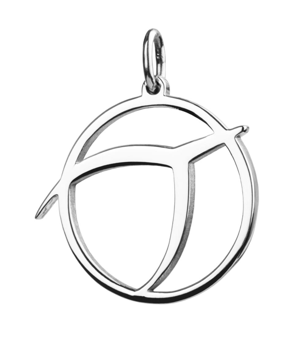 IPU symbol pendant, sterling silver