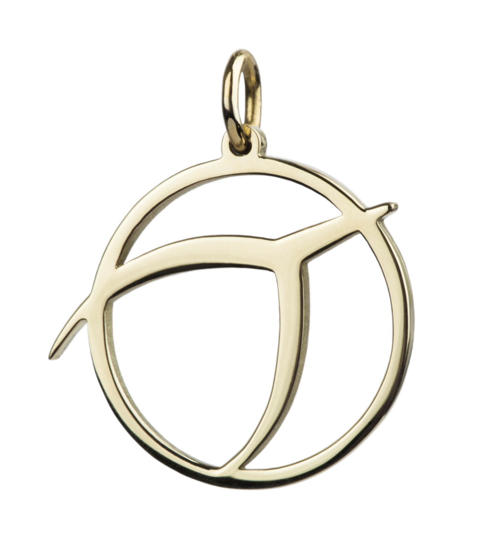 IPU symbol pendant, 14k gold