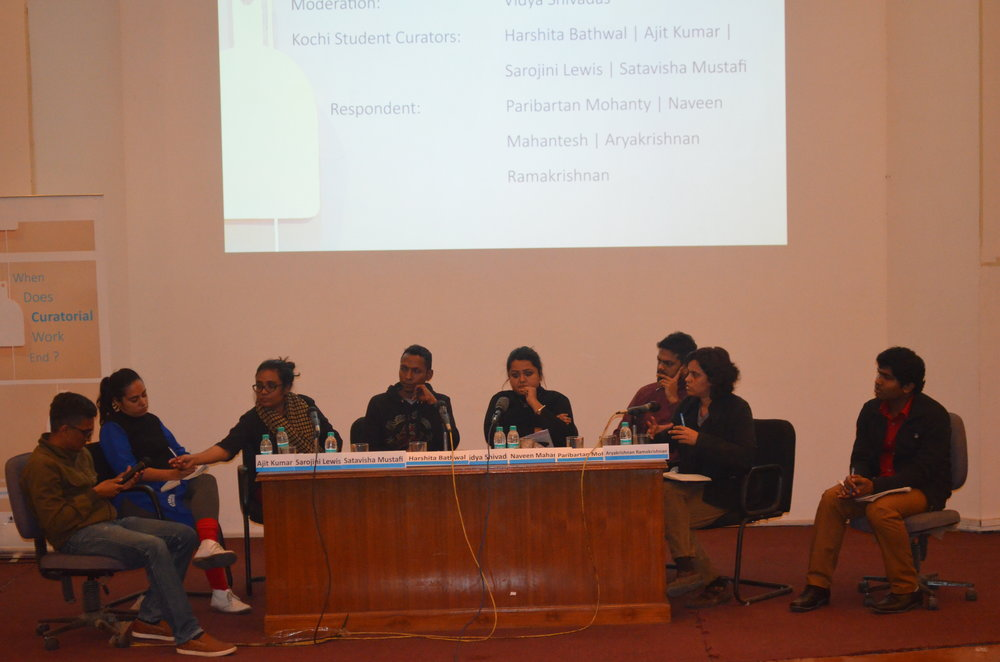 Curating, Collaborations & Institutions: Students' Biennale, Kochi 2016 with Shatavisha Mustafi, Ajit Kumar, Hashita Bathwal, Sarojini Lewis, Paribartan Mohanty and Vidya Shivadas.