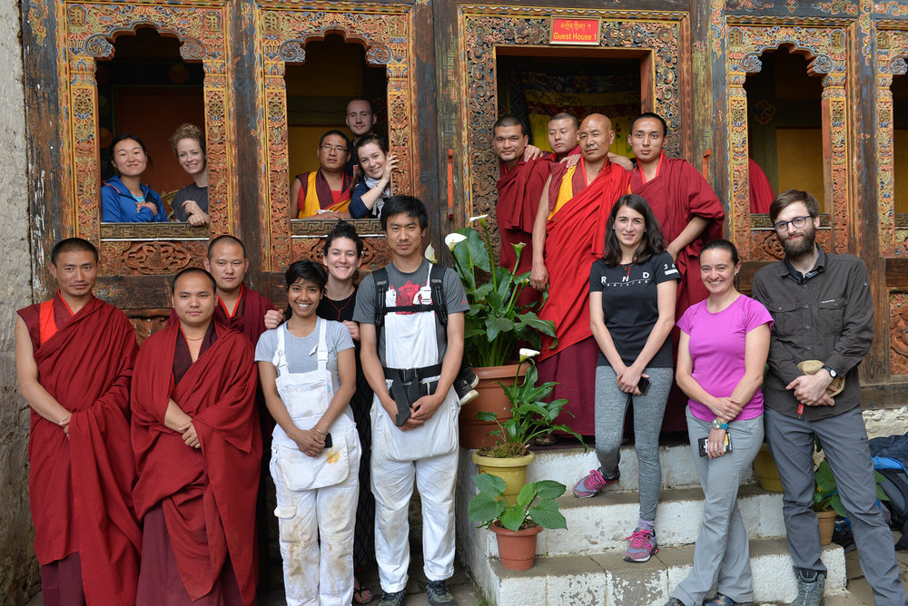 Conservation project team with monks at Tango Monastery, Bhutan.