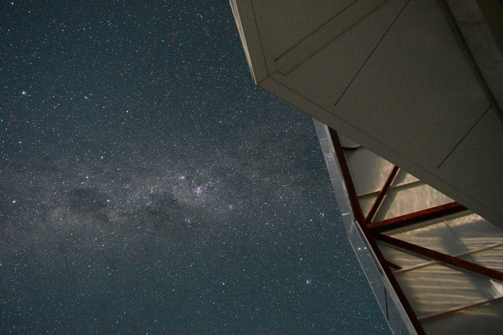 The dome of the Magellan Telescopes at Las Campanas, Chile. The band of the Milky Way can be seen in the backdrop in all its glory.  Photo Credits: GK