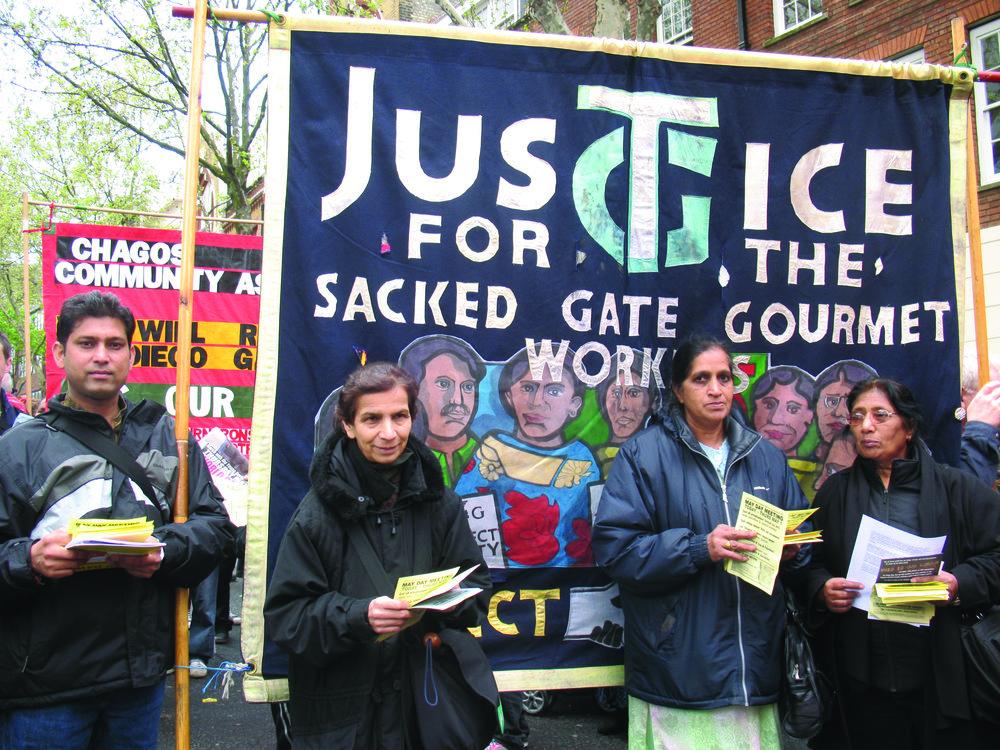 Sacked Gate Gourmet workers, May Day rally, London, 2008 © Sundari Anitha