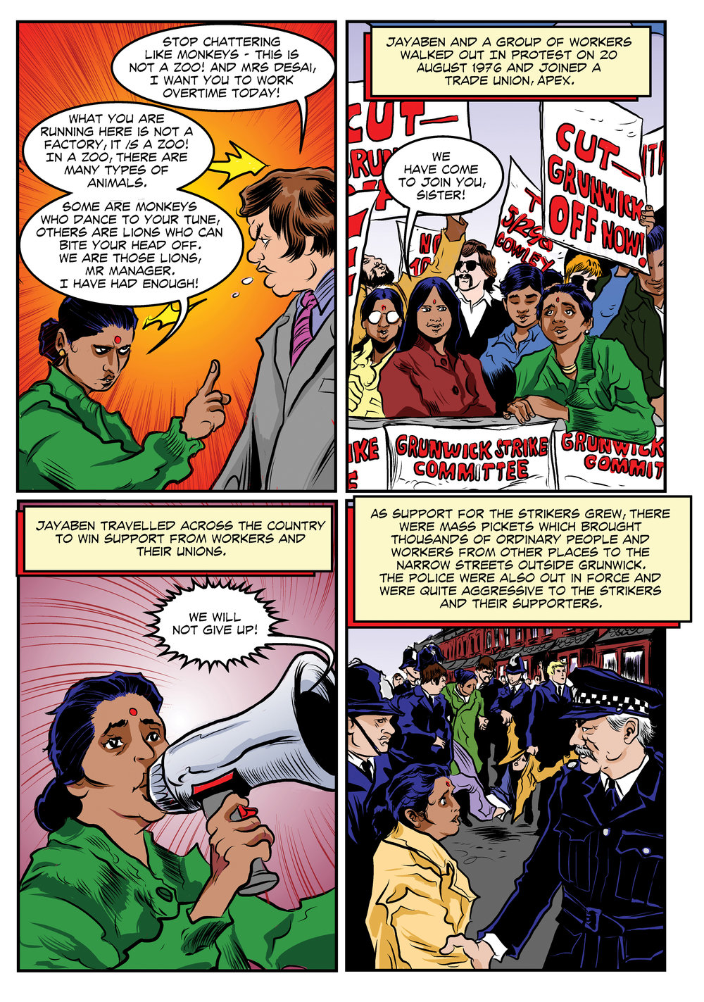 Jayaben Desai's account of the working conditions and her walk-out from Grunwick, in the comic, Striking Women. Available for free download at  www/strikingwomen.org.uk