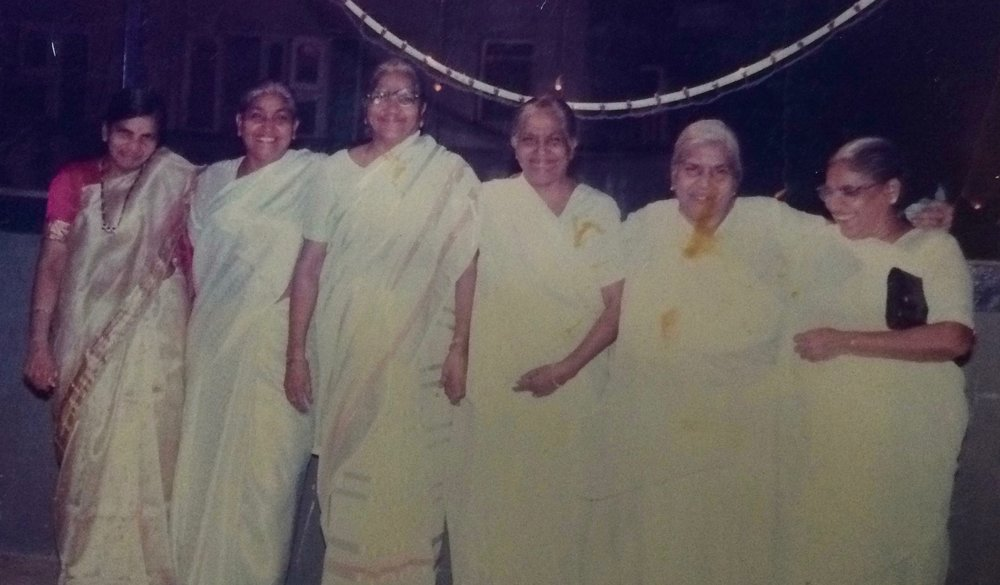 Chandra (my grandma) is second from the left with her four sisters who lived in Ulhasnagar, and a sister-in-law from Bhiwandi. All these women headed their households