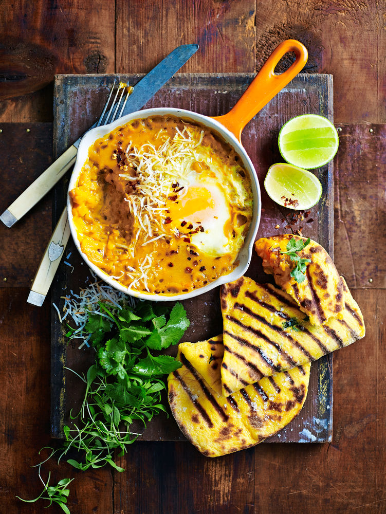 Red Lentil Dhal  With Fried Egg  & Pumpkin Naan