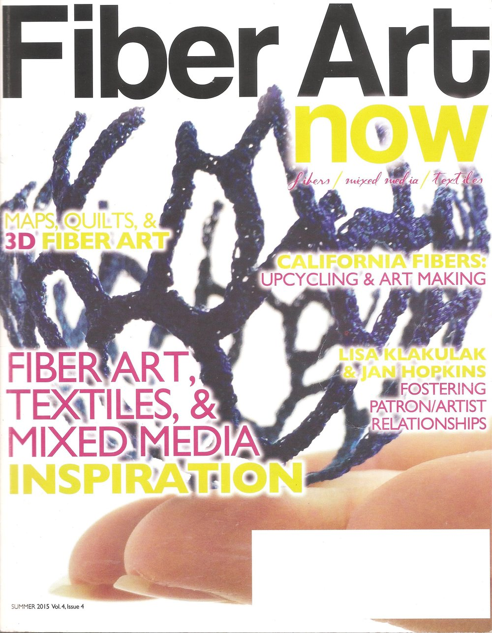 FIBERART now, Article by Genevieve Nordmark   Summer 2015 Vol. 4, Issue 4    STRENGTH & FRAGILITY: Silvia Turbiner's Paper Scupltures