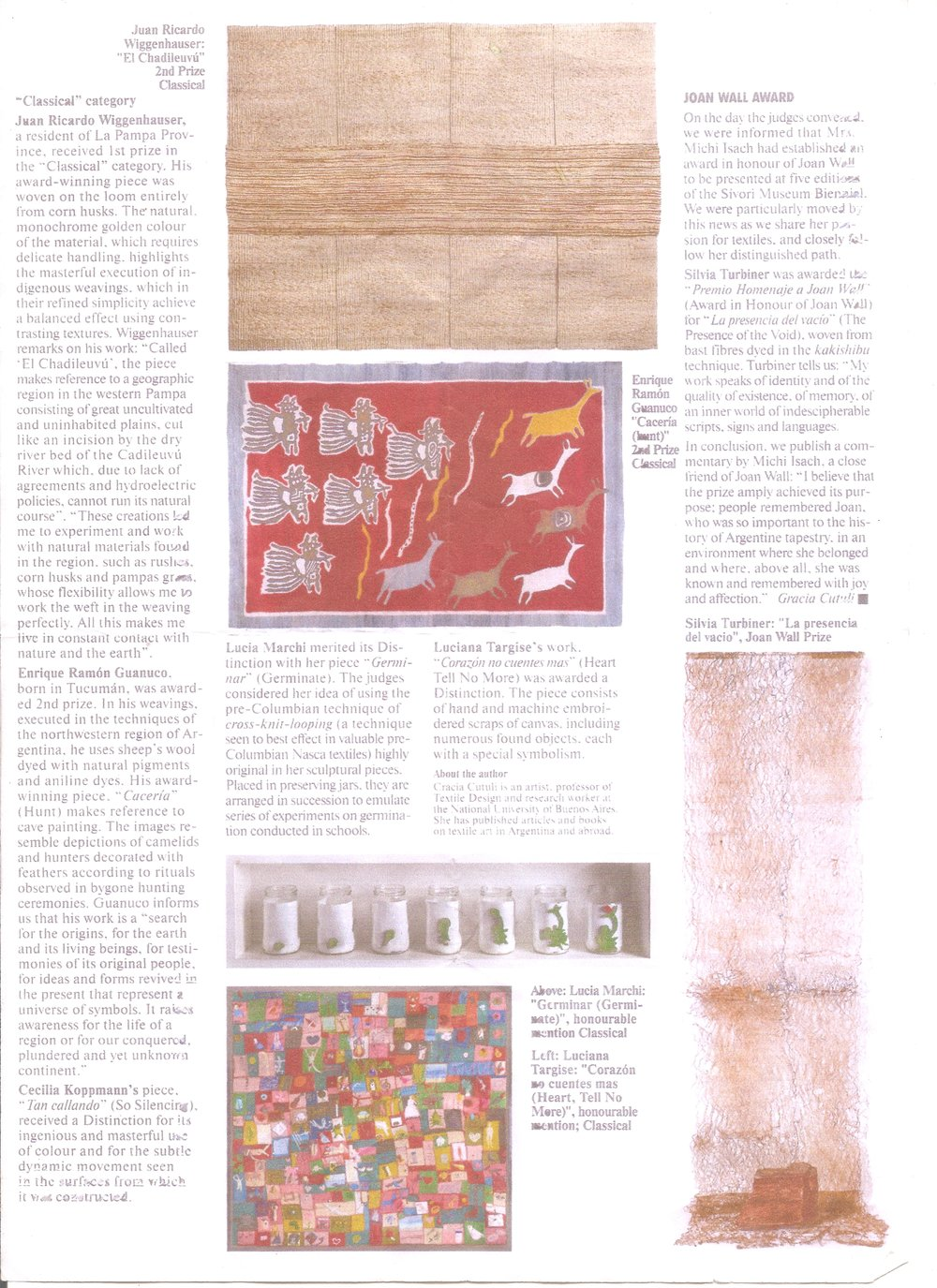 Textile Forum article by Grazia Cuttuli.  Joan Wall Award, 2011