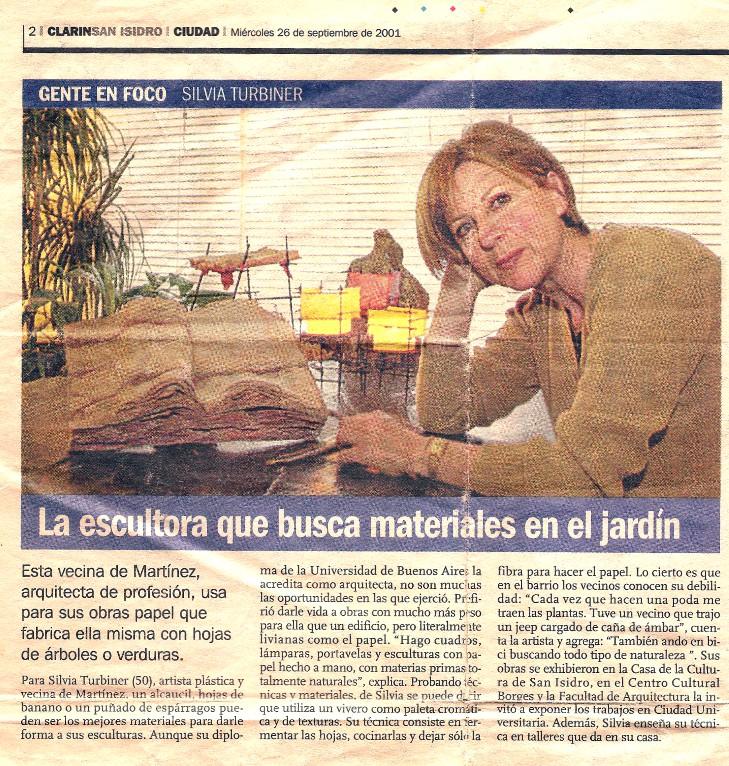 Nota del diario Clarin, sección San Isidro.     Septiembre 2001.