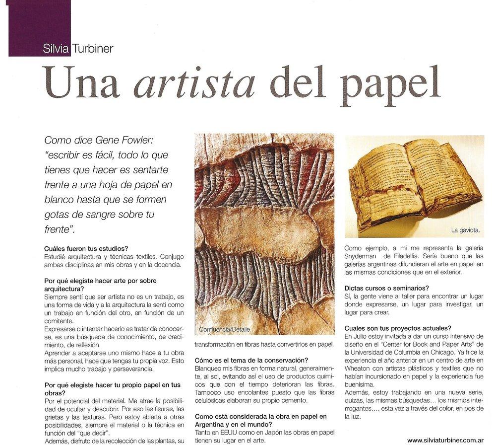 Hoy Arte Hoy, Año VII - Número 12, 2006, Nota de Claudia Ferrari