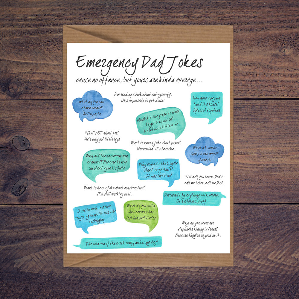 Emergency Dad Jokes Greeting Card With Love Co