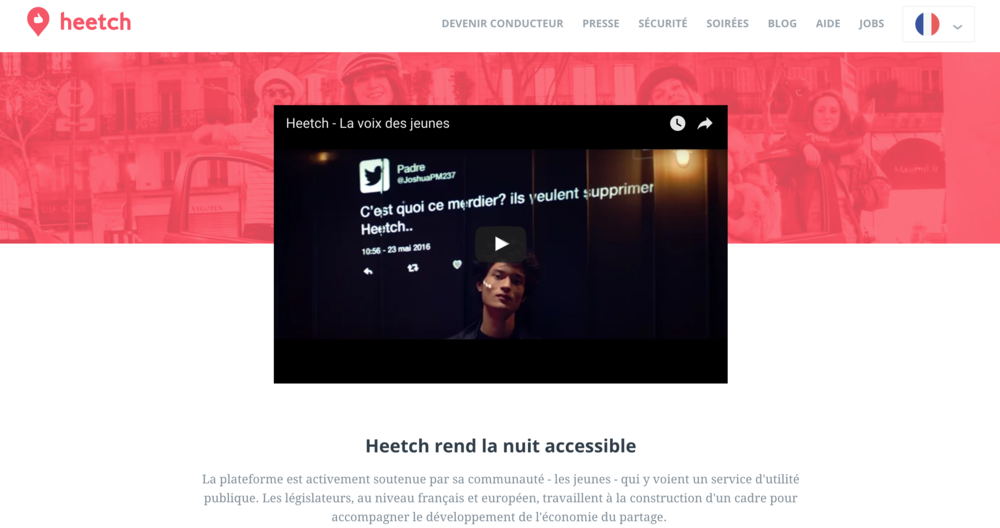 Capture d'écran du site Heetch