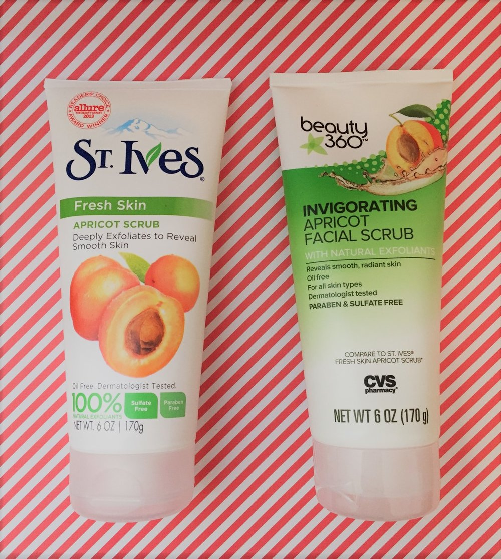 We compared the CVS version of St. Ives Apricot Scrub to the real St. Ives Apricot scrub.