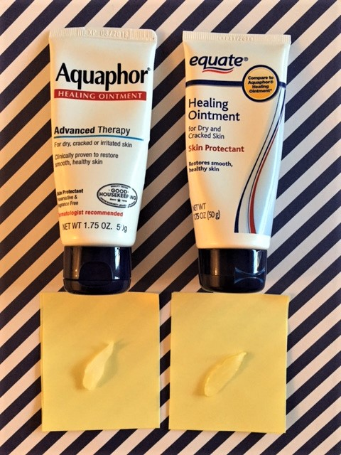 Notice the translucency of the equate version vs. Aquaphor. Not the same!