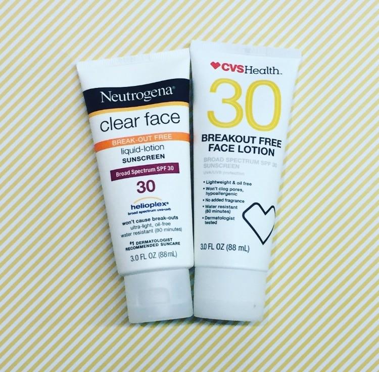 Neutrogena Clear Face Break Out Lotion Sunscreen SPF 30 vs. CVS Health