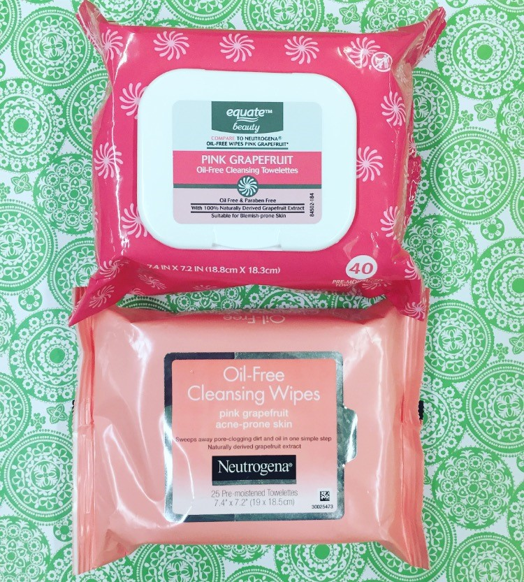 Neutrogena Oil-Free Cleansing Wipes vs. Equate Pink Grapefruit Cleansing Towelettes