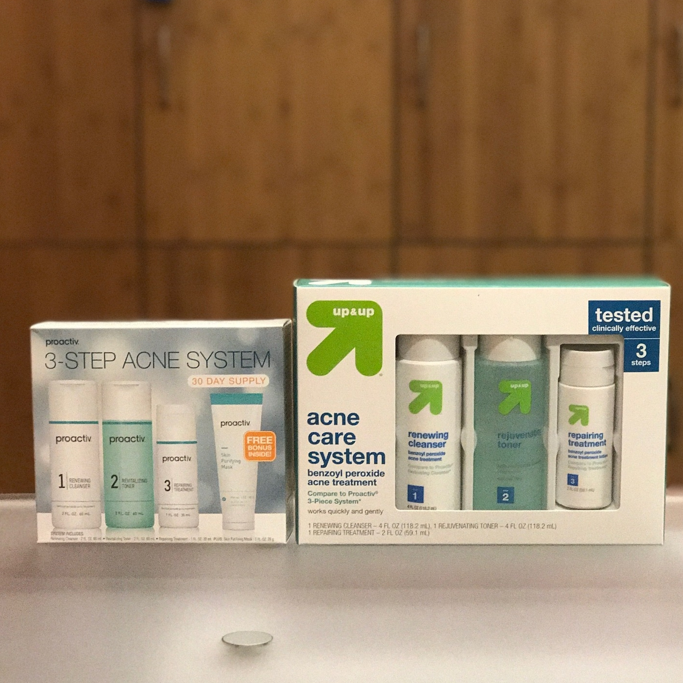 Proactiv 3 step system vs. up & up Acne Care System