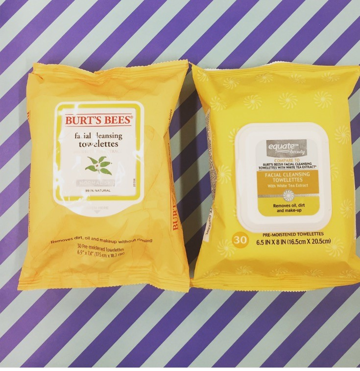 Burt's Bees Facial Cleansing Towelettes vs. Equate Facial Cleansing Towelettes