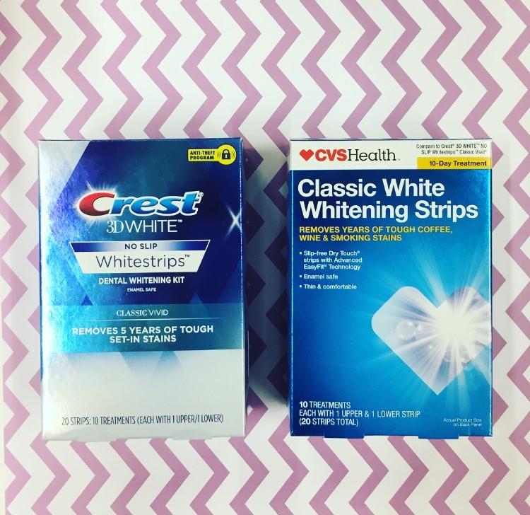Crest 3D White Whitestrips Classic Vivid vs. CVS Health Classic White Whitening Strips