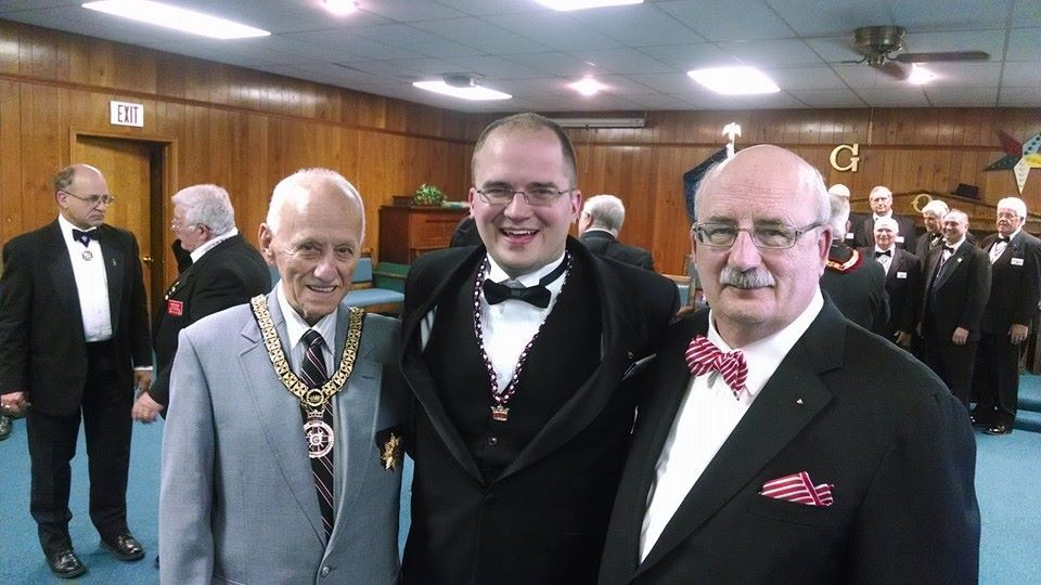 HONOUR ROLL:  Corey Curtiss , past presiding of our Chapter, Council, and Commandery was created a Knight of the York Cross of Honour (KYCH) over the weekend. He was knighted by Ernie Berry, Past Grand Master General KYCH, Past Grand Governor  MI YRC, Past Most Illustrious Grand Master RSM (left) and invested by Doug Hegyi, PGM, Excellent Chief of Knight Masons of Michigan (right). The KYCH is an invitational organization honouring leaders of the York Rite. Find out more about KYCH at  www.kych.org  and our local Michigan Priory #22 at  http://www.hiram.net/michigan22/