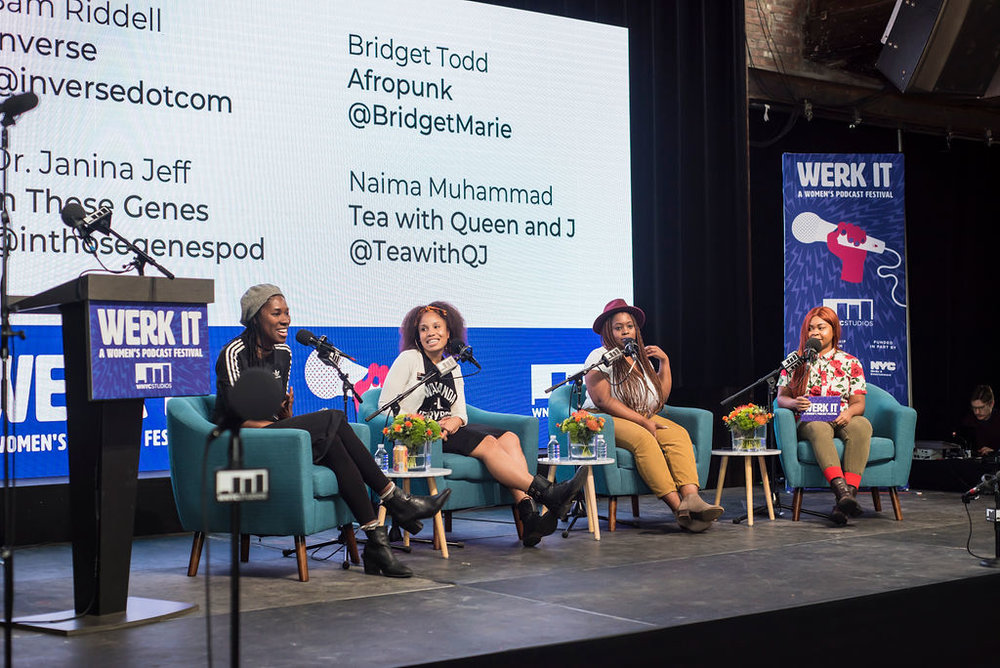 Bridget Todd, Janina Jeff, Naima Muhammad and Sam Riddell seated on stage for a panel