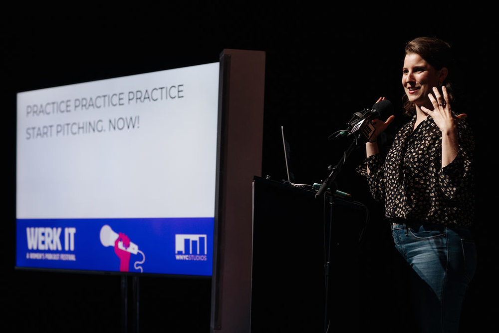 Allison Behringer presenting on stage