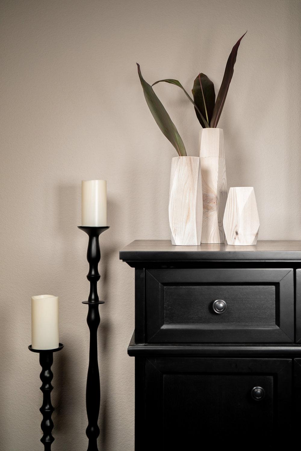 Whitewash Wood Vases