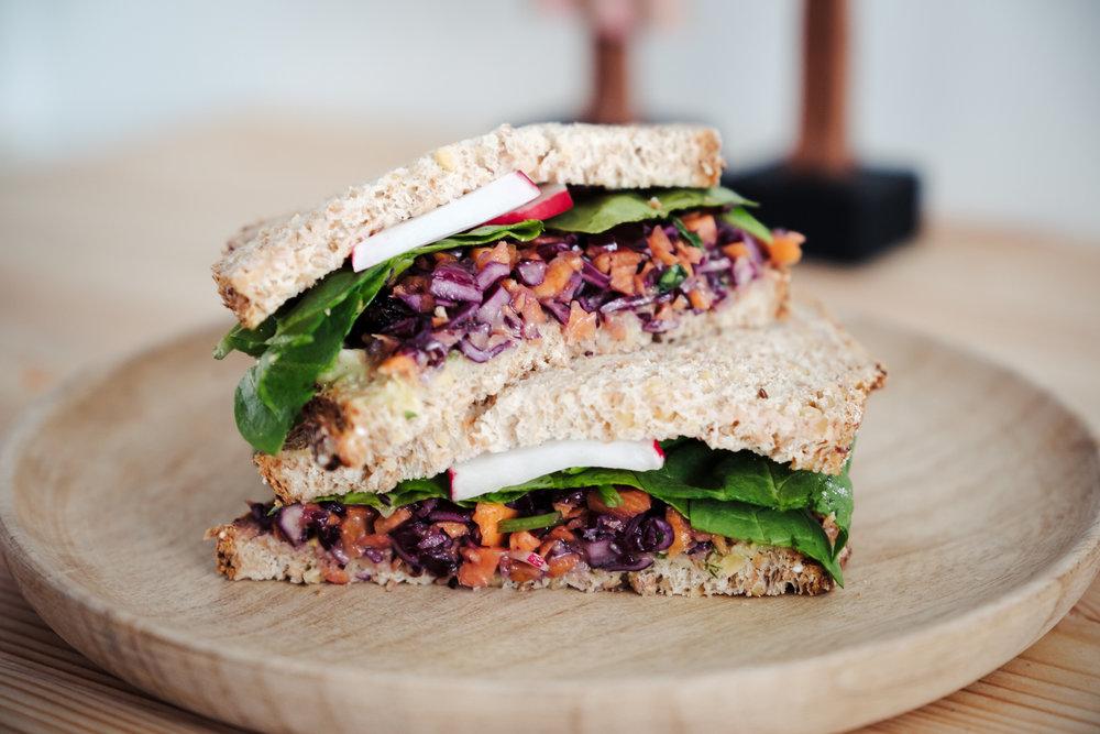 Vegan coleslaw sandwich