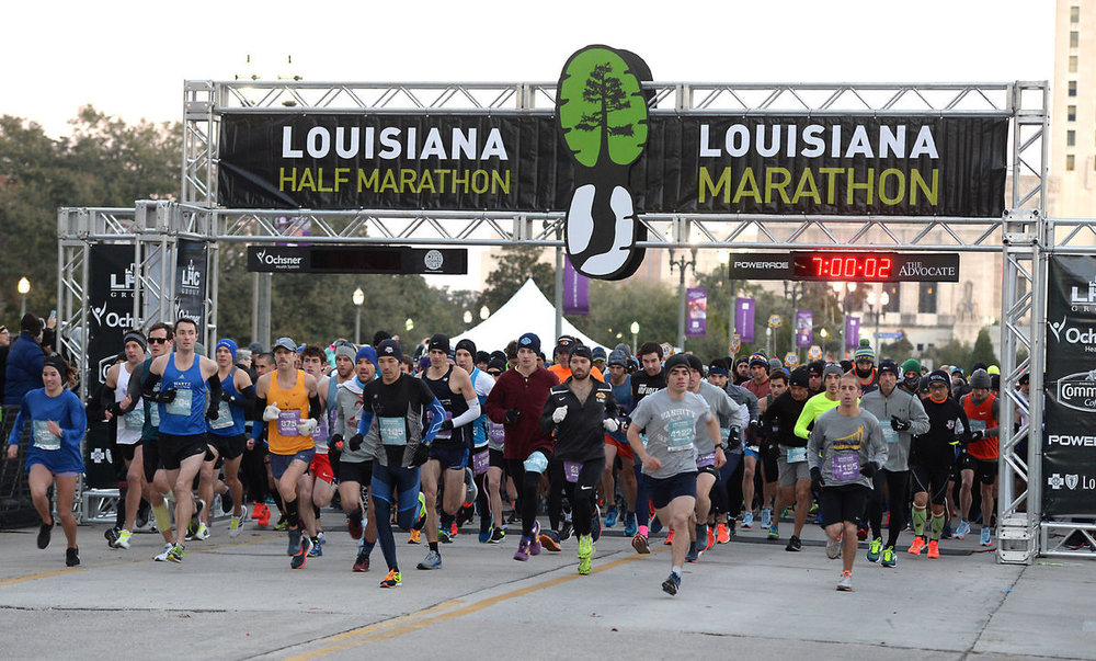 Start of the 2018 Louisiana Marathon and Half Marathon on January 14