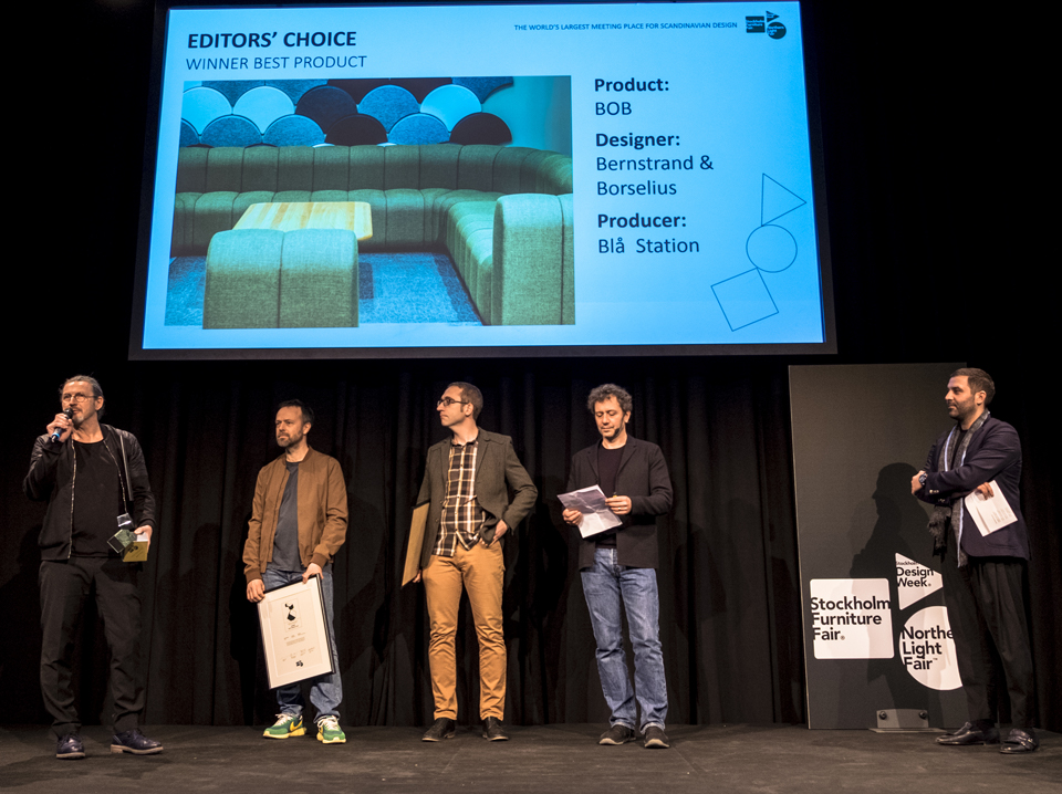 Johan Lindau, Thomas Bernstrand, and Stefan Borselius receive the prize. Motivation: a clever idea that produces a flexible seating system with a strikingly simple aesthetic. A new modular typology that could work equally well in the home or in commercial spaces. Image: Blå Station