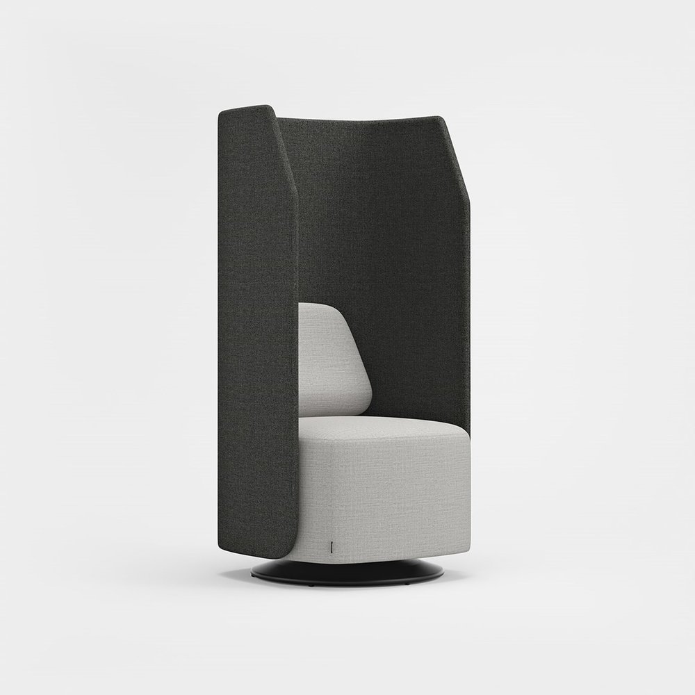 EASY CHAIR OR SOFA - HIGH BACK A high back screens off and grants privacy. Linkable, with smart connectors in black, white or silver, to create larger seating configurations.
