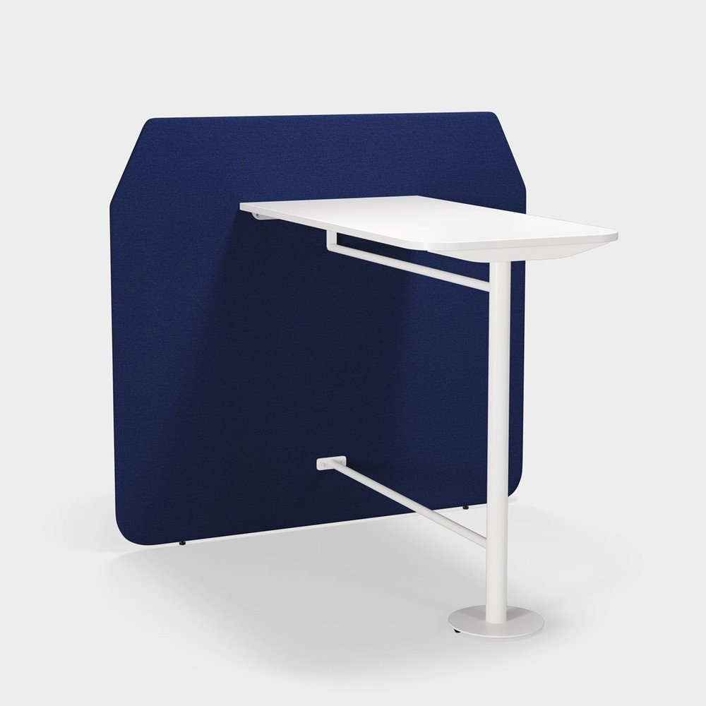CO-CREATION TABLE Pairs with co-creation screen. Available in three heights and two sizes. Laminate or veneer tabletop. Black, white or silver underframe. Supports sitting and standing.