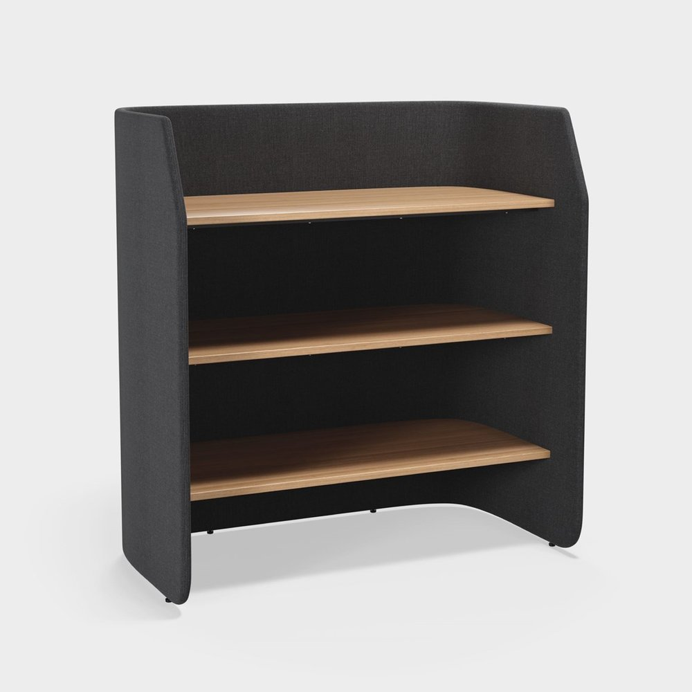STORAGE COVE High back. Four fitting options. Available with clothes rack for outerwear. Stabilizer feet for steady placement. Laminate, veneer, or solid wood shelving.