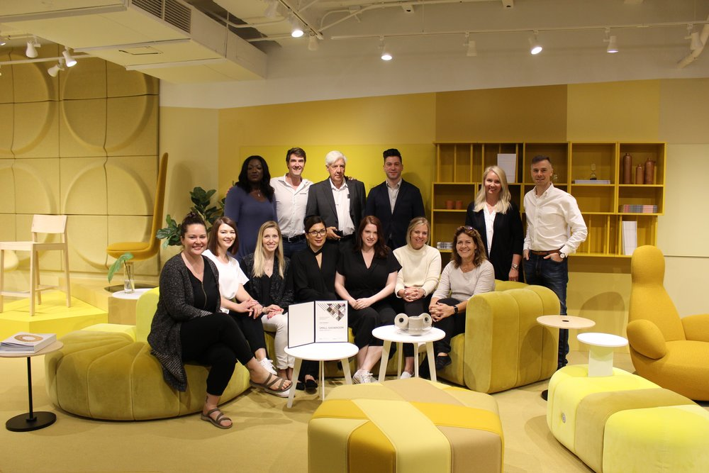 The Scandinavian Spaces team together with the jury panel. Image credit: IIDA