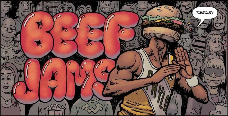 """from BEEF JAMS: """"Timeout"""" on VICE. Art by Greg & Fake."""