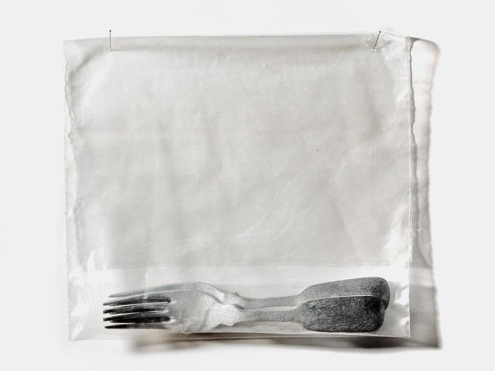 Forks / Carved & Painted Wood Plastic Bag. 2002.