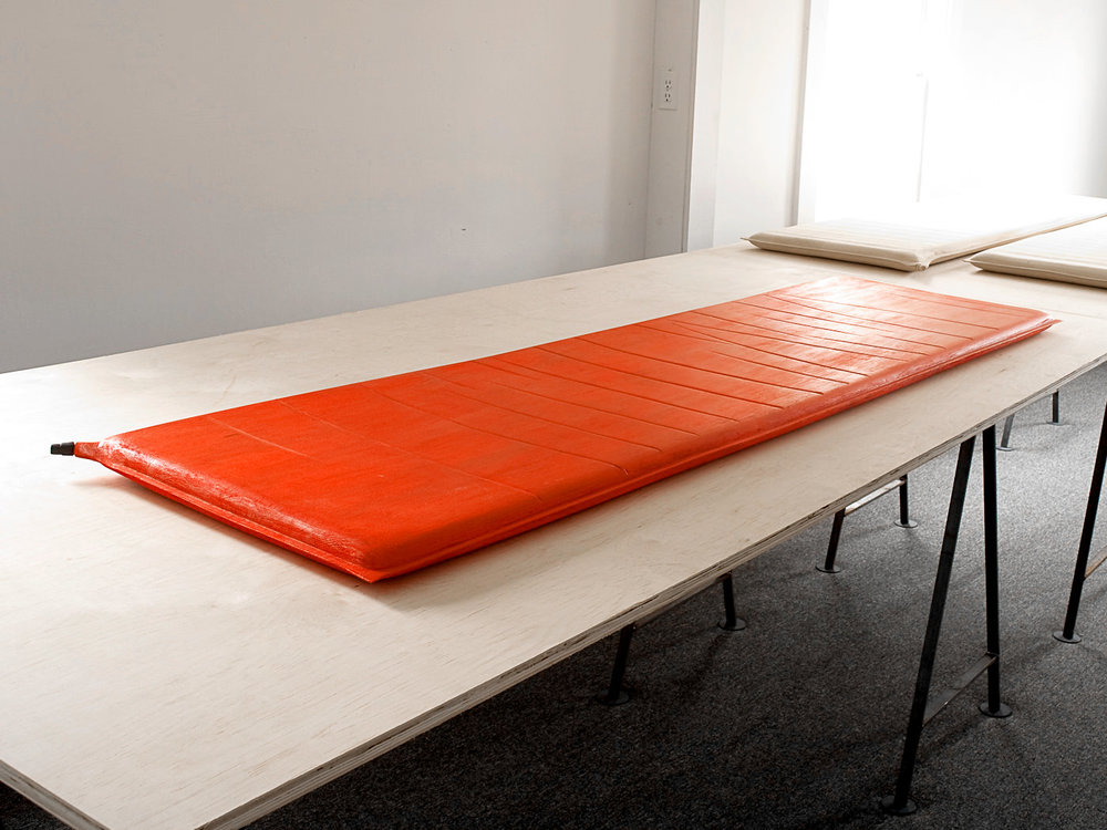 Orange Thermarest (mine) / Carved & Painted Wood. 2000.