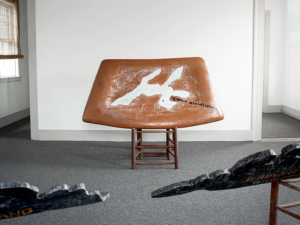Brown Windshield / Carved & Painted Wood with Chair. 2012.