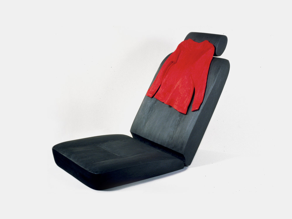 Car With This Red Shirt / Carved & Painted Wood with Metal. 1999.
