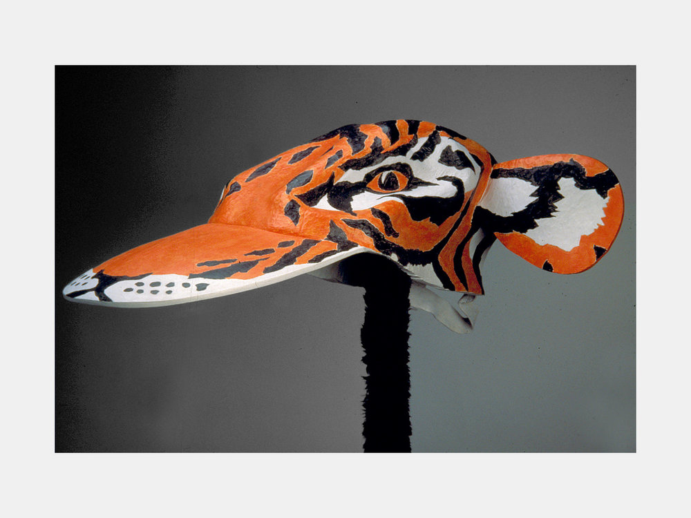 Tiger Hat / Carved & Painted Wood. 1995.