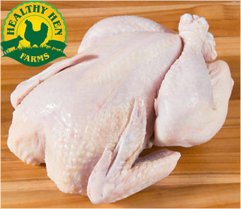 Whole pastured chicken fed certified organic, non-GMO, soy-free feed.