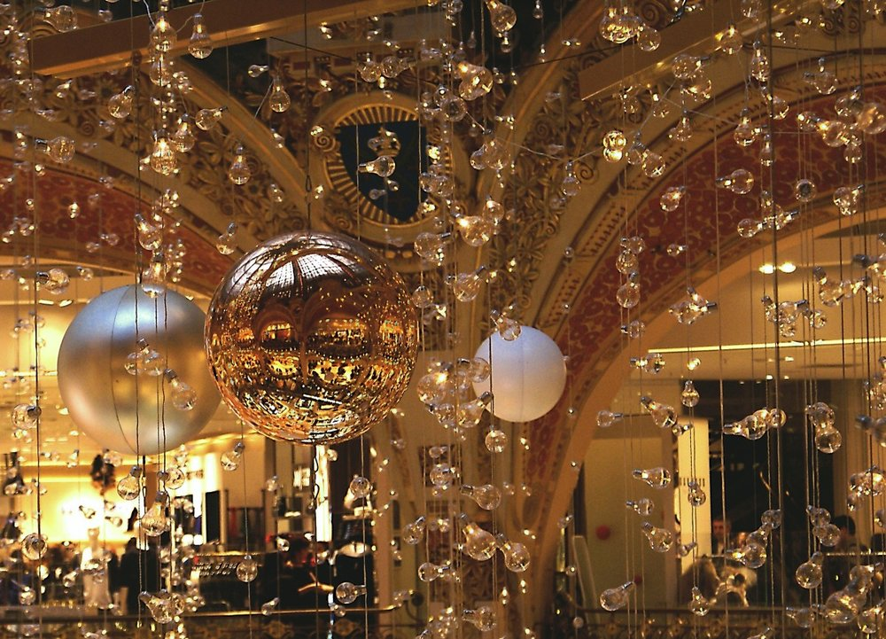 Stay Covered... in Christmas Ornaments  - The other day we were dining at a historic restaurant in Echo Park, and I noticed they were hanging vintage ornaments from their chandeliers (like pictured). I'm a fan. Get a similar look with a vintage twist -- the link below will send you to some traditional ones that are just stunning.
